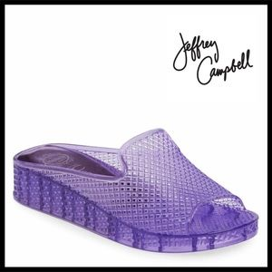 JEFFREY CAMPBELL SLIDES JELLY WEDGE SANDALS A3C